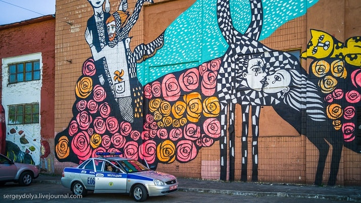 Граффити на стене завода